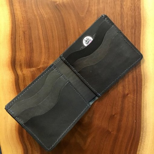 Black Horween Bifold Wallet with Blue Stitch