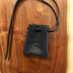 Black Horween Dice Pouch with Blue Stitch