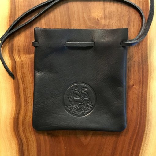 Black Horween Double Pouch with Blue Stitch