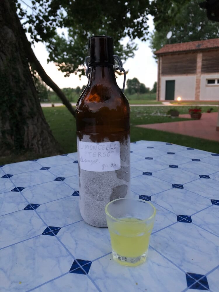 Charlotte was invited to enjoy home made Limoncello in Italy