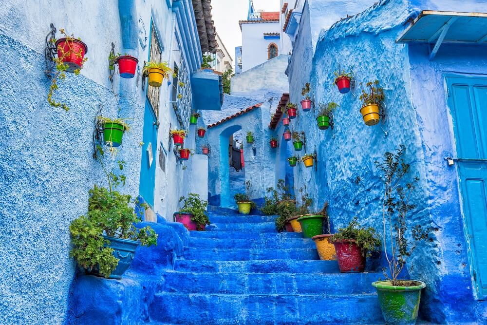 Colorful blue street of Chefchaouen