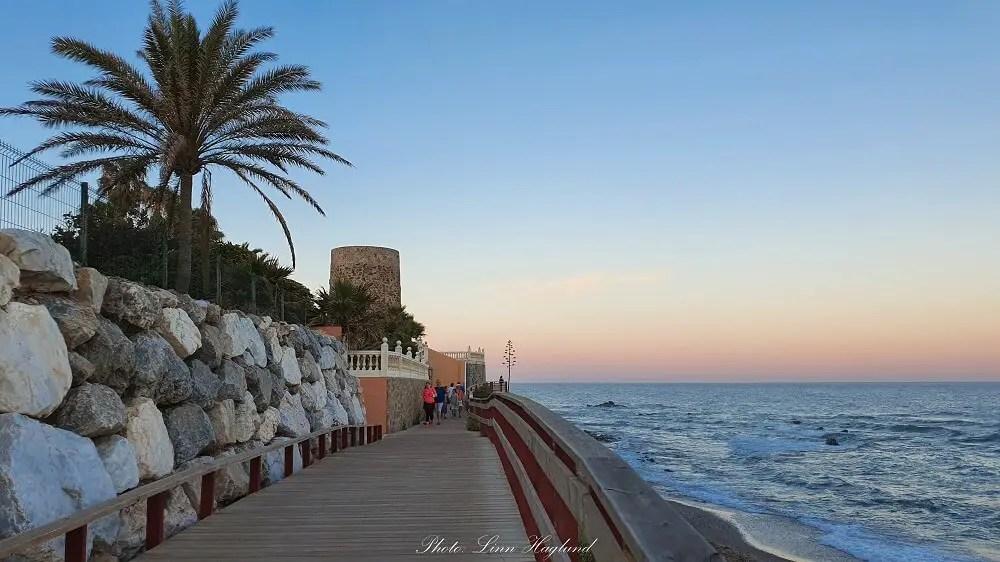 Among the best things to do in Mijas Costa is to walk the La Cala de Mijas Boardwalk