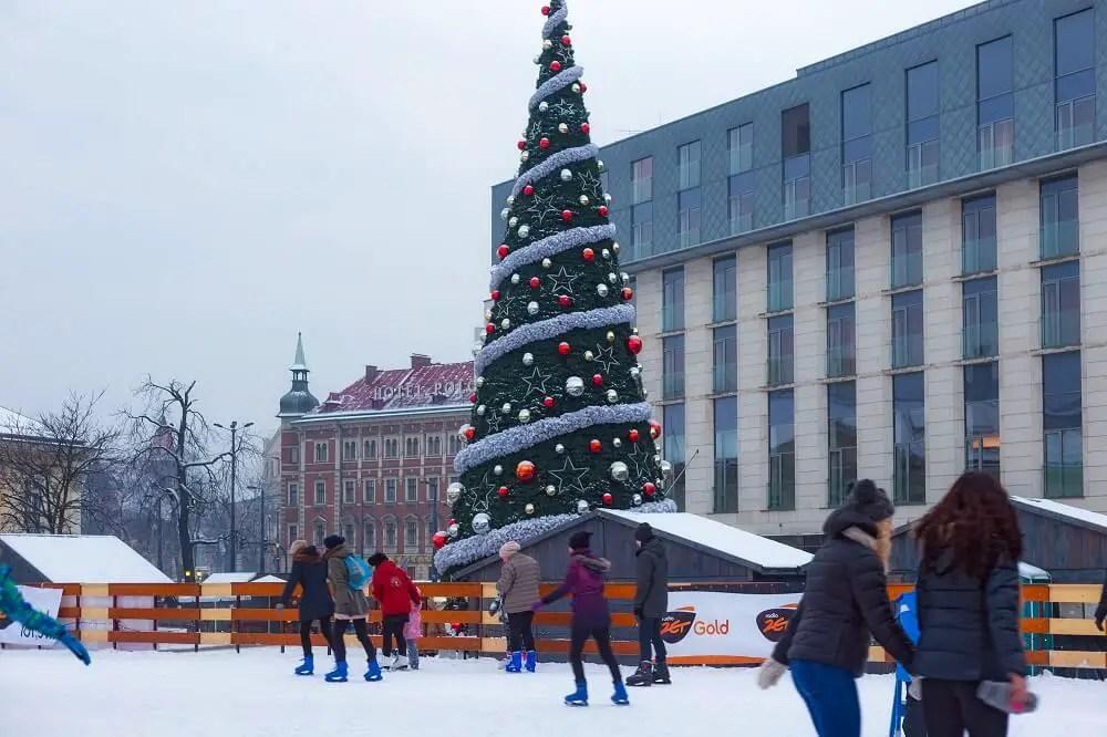 Ice skating in Krakow in winter