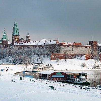 Krakow in winter with snow
