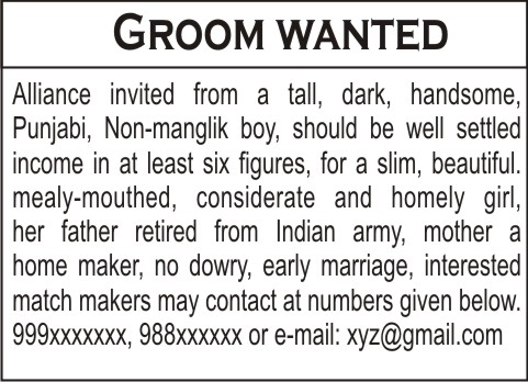 Bride Wanted Advertisement Examples – Ajak Ngiklan