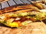 The Grain Fed Chicken Sandwich With Guacamole, Cajun Spices, Tomatoes and Mangoes