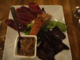 The Davy Crockett - Smoked and Dried Bison and Ostrich Meat, Liver Pate, Onion Marmalade and Mixed Greens
