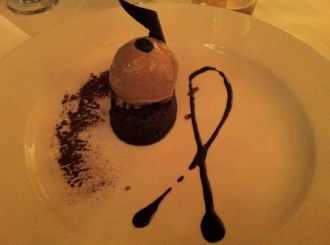 Chocolate Mousse, Coffee Ice Cream, Cocoa and Coffee Sauce