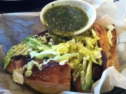 Top Chef Torta With Braised Beef Tongue, Chortizo, Potatoes, Avocado and Salsa Verde
