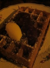 Waffles with Honey Butter and Rhubarb Jam
