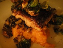 Blackened Halibut, Sweet Potato Puree With Toasted Marshmallow, Hoppin' John and Fried Brussel Sprouts
