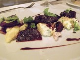 Grilled venison with polenta, beets, brussel sprouts, and chocolate