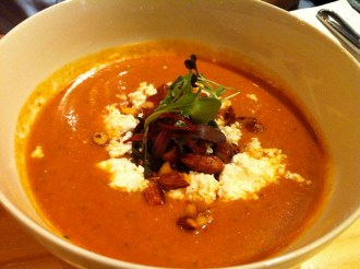 Gazpacho with feta and vermicelli cucumber