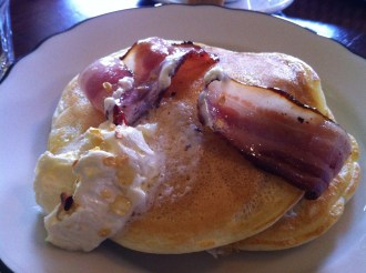 Bacon Layered Pancakes With Poached Pear Butter