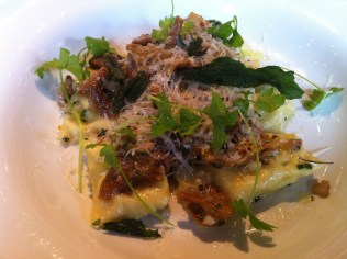 Agnolotti stuffed with chestnut polenta, sage and wild mushrooms