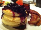 Lemon Ricotta Pancakes, Blueberry Compote and Sugar Bacon