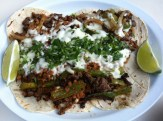 Tacos Campechanos: Steak, Chorizo, Green Peppers
