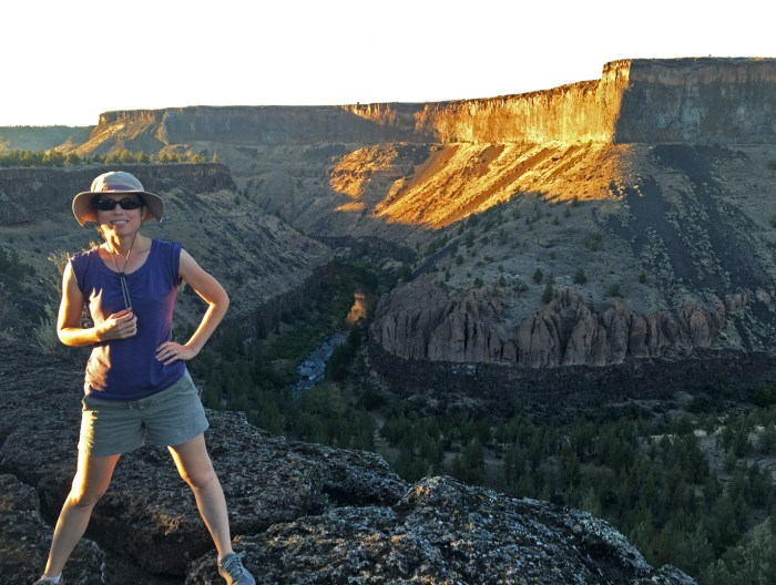Christina standing on the bluff above Crooked River Canyon