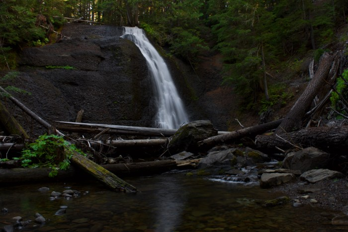 Langfield Falls as viewed from the center of the creek