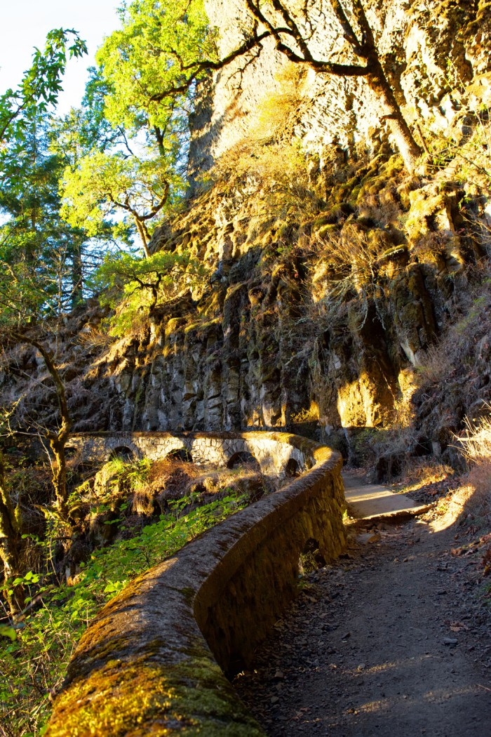 Arched wall along trail at Sheppard's Dell Falls