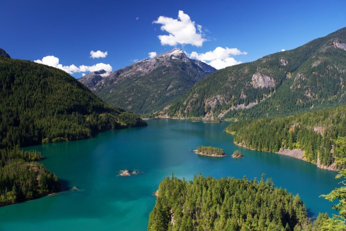 Deep blue-green Diablo Lake surrounded by mountains of the North Cascades