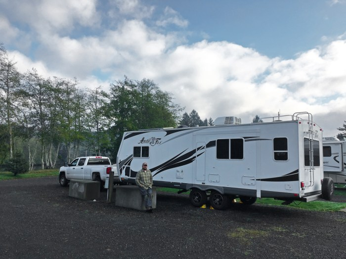Michael standing by our truck and trailer at the Hoquiam River RV Park