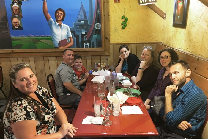 Some of Michael's friends around a table at a Mexican restaurant in Red Bluff