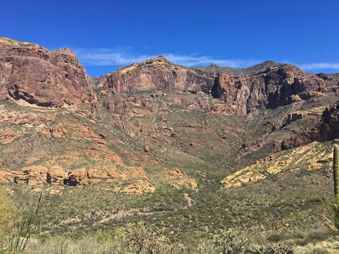 View from the top of Bull Pasture Trail down into the valley and across to the canyon walls