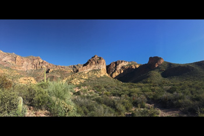 Panoramic of the green vegetated desert valley and rocky walls of Estes Canyon