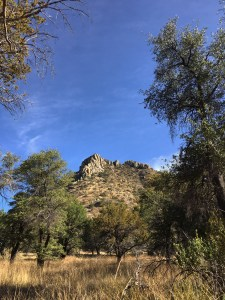 Bonita Canyon - grassland with scattered oaks and a rocky outcrop topped mountain