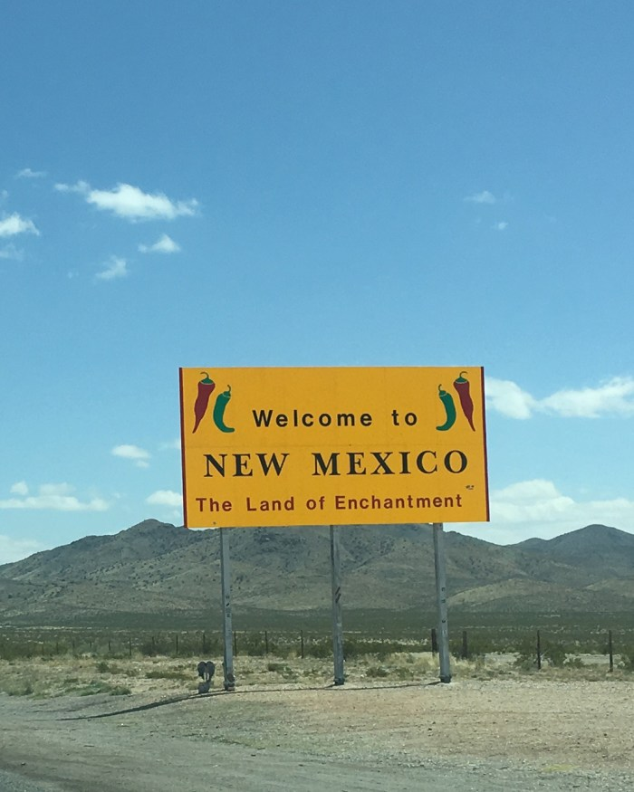 New Mexico welcome sign on the freeway