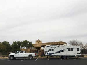 Our truck and trailer in the Casino del Sol parking lot where we camped