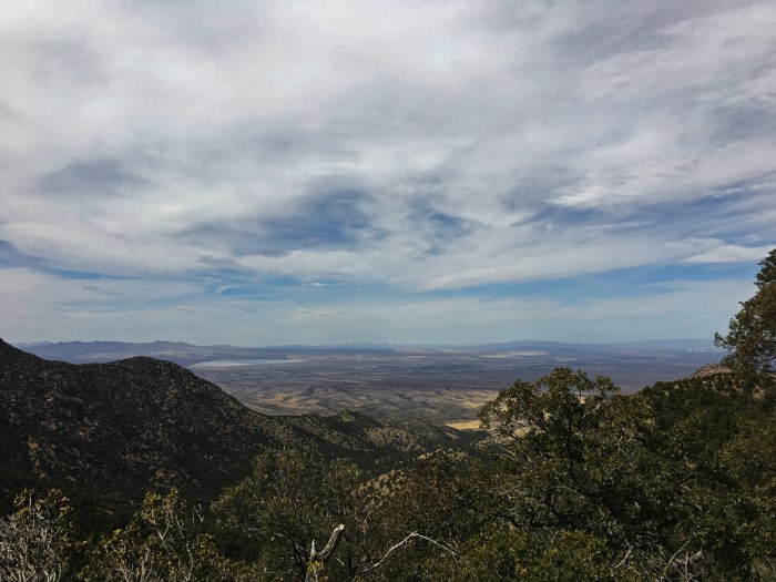 View of the desert valley from halfway up the mountain at Madera Canyon