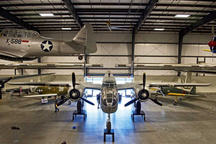 B25 parked in a hangar