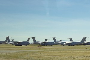 Cargo planes lined up at the Boneyard