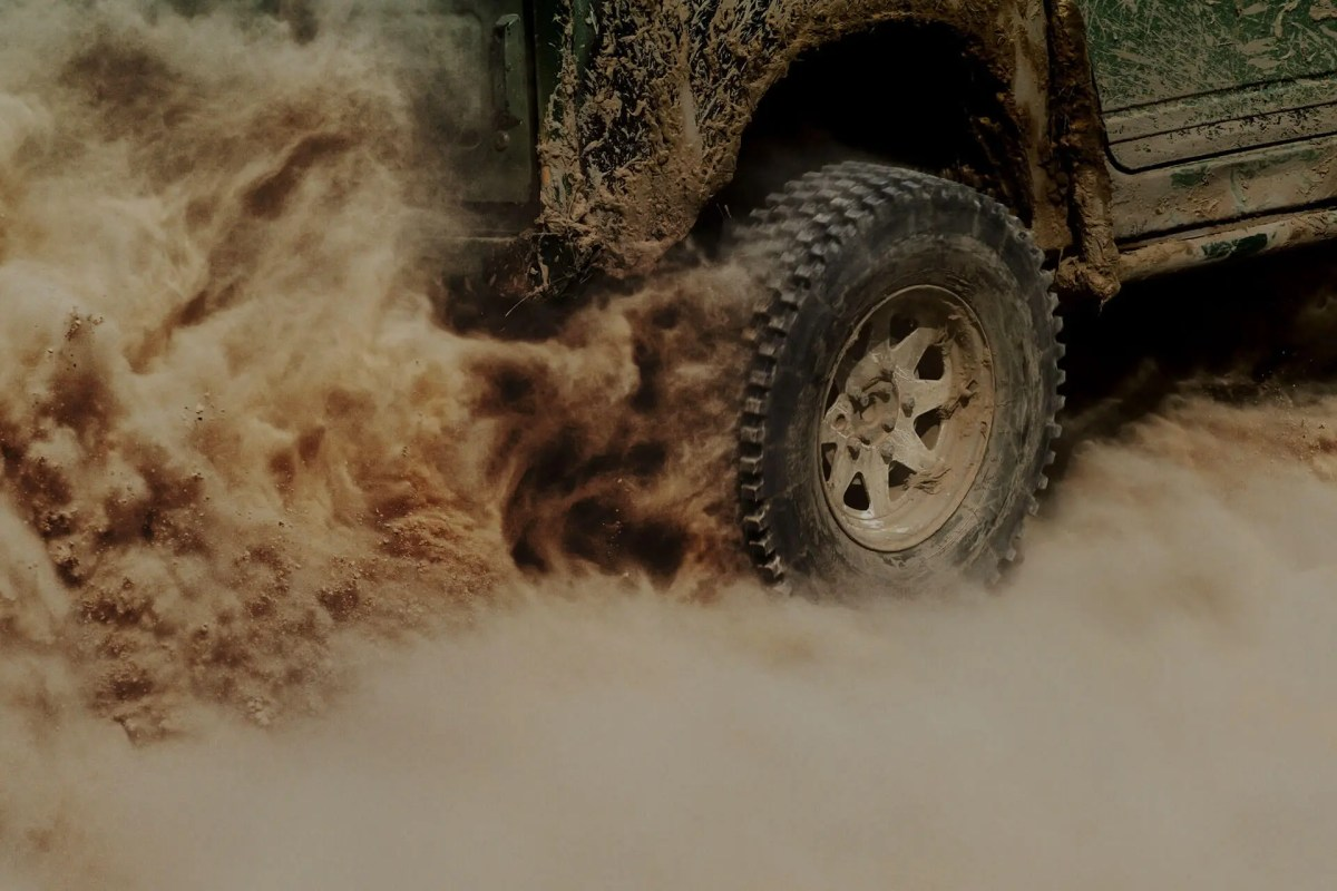 Vehicle kicking up dirt