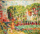 Kirchner a woman in a birch wood 1906