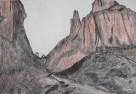 Gola del Gartl (torri del Vajolet) - Carboncino e sanguigna su carta bianca 33x48