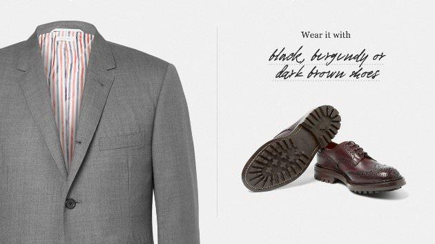 Цвет обуви к серому костюму