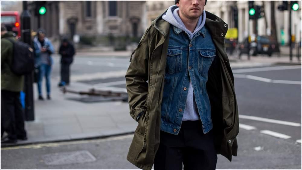 Худи с джинсовой курткой и паркой