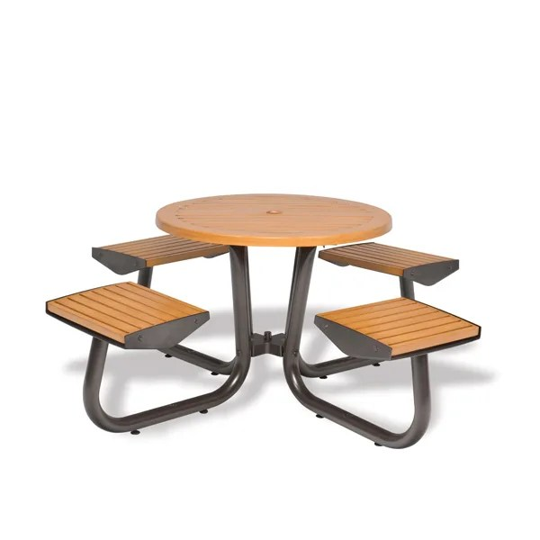 36 round outdoor table with attached seats camden collection portable surface mount