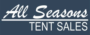 tent sales logo blue background