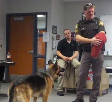 dog and officer doing demonstration