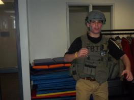 Student in battle fatigues