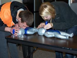 students practicing cpr on infant trainers