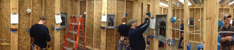students doing house wiring