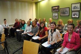 many students seted at a meeting