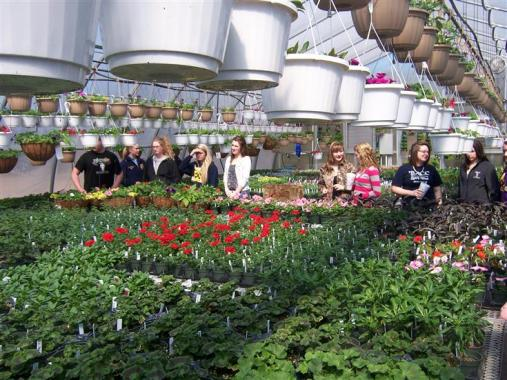students preparing to work in our greenhouse