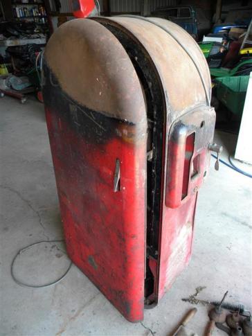 burned old coke machine