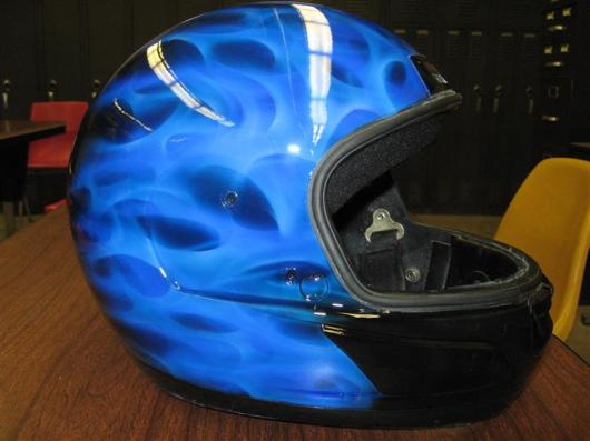 blue flames on helmet